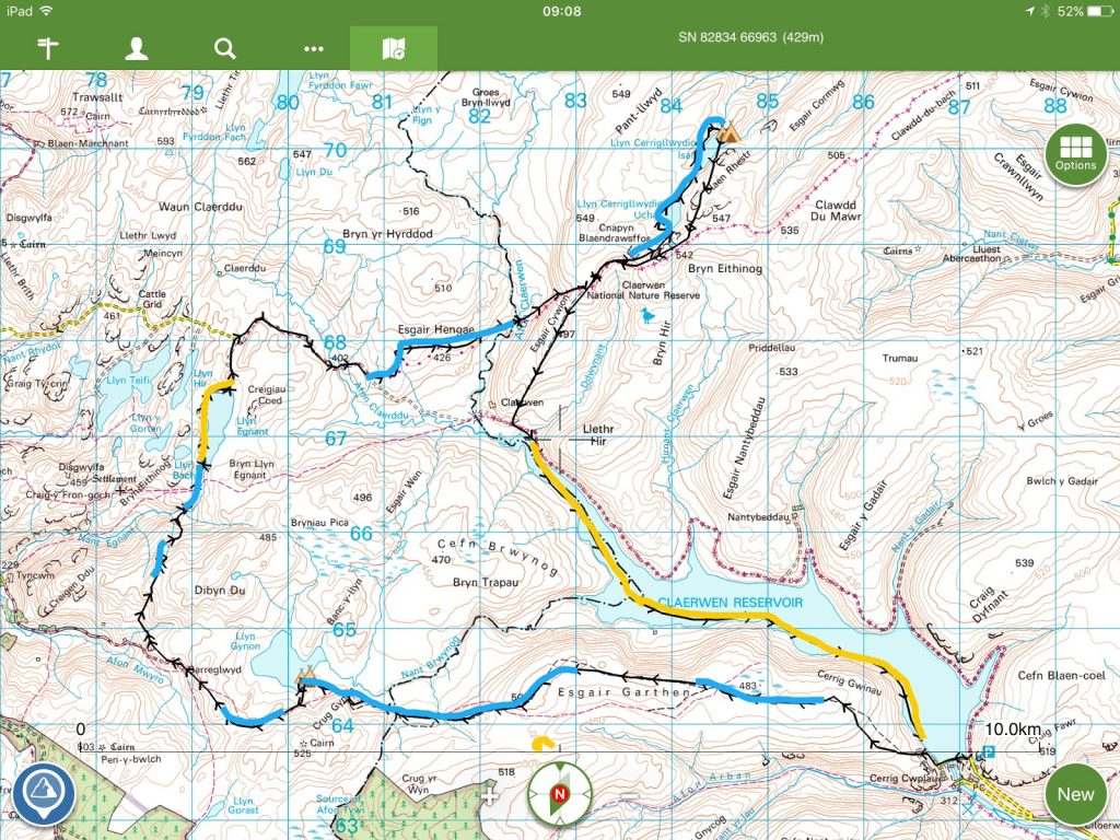 Packrafting route - Elan Valley